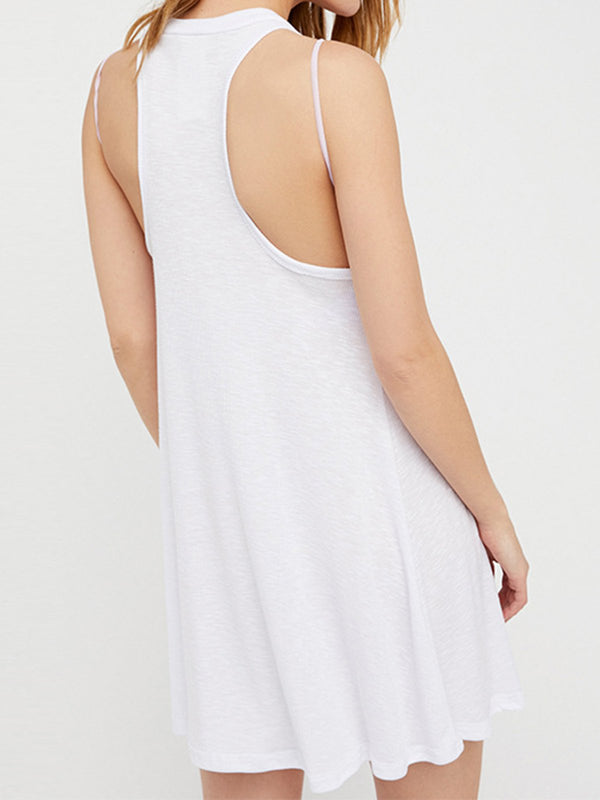 Plain Paneled Sleeveless Crew Neck A-Line Daily Sexy Dresses