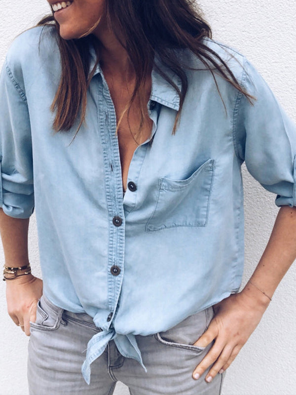 Light Blue Casual Shirt Collar Blouses & Shirt