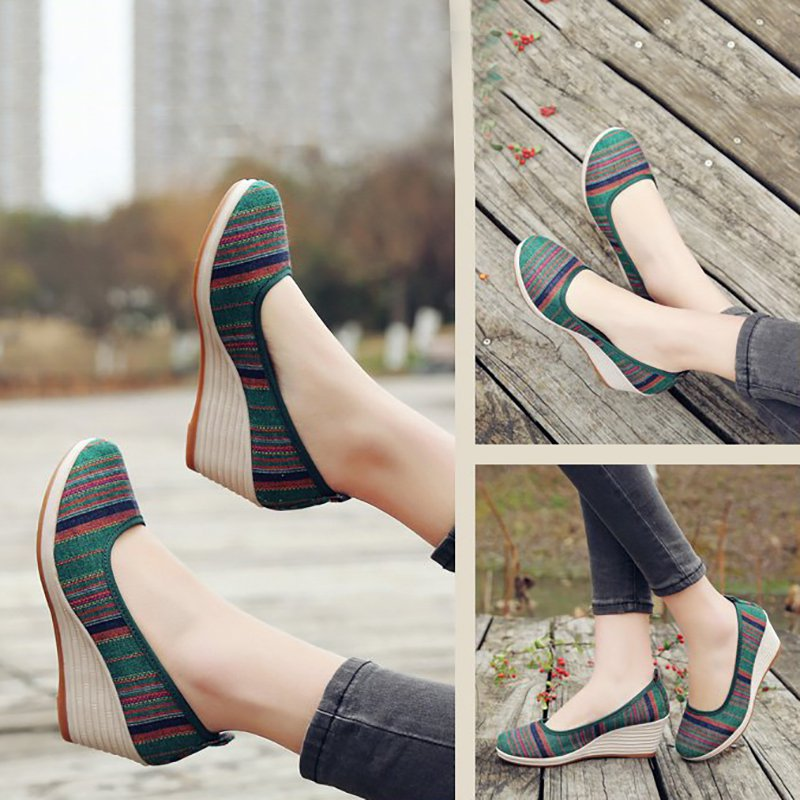 Vintage Stripes Cloth Wedge Heel Shoes