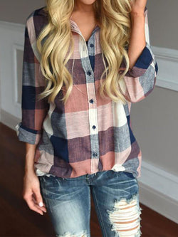 Casual Cotton Shirt Collar Gingham Blouse