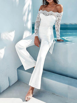 White Long Sleeve Off Shoulder Polyester Solid Jumpsuits