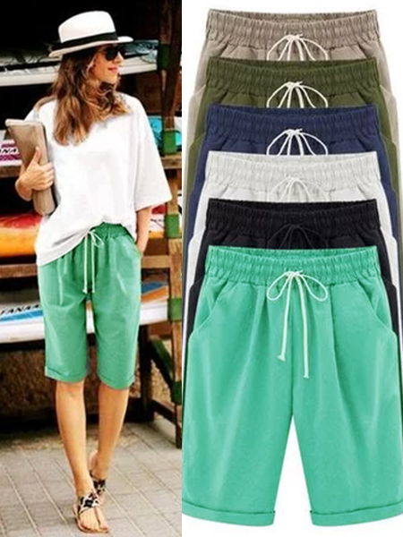 Pockets Drawstring Casual Cotton Shorts