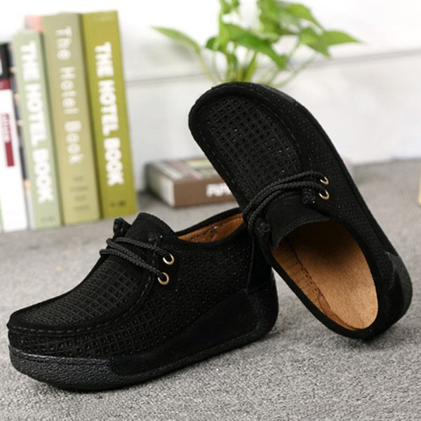Platform Split Leather Casual Lace-up Loafers