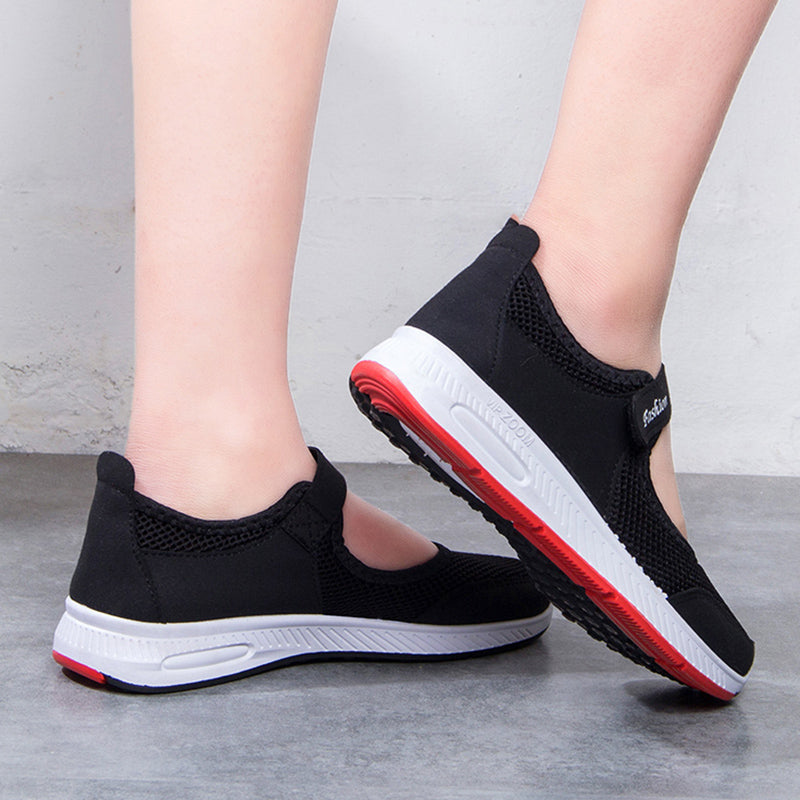 Women Mesh Fabric Sneakers Breathable Magic Tape Shoes
