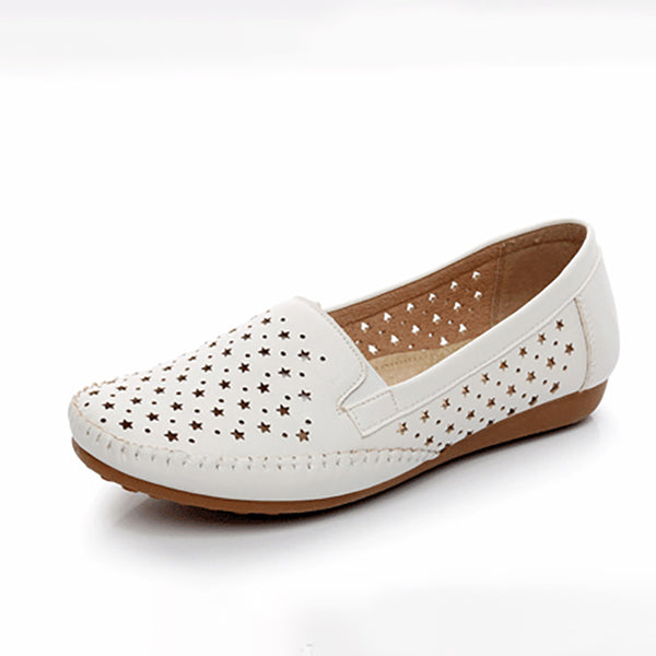 Women PU Flats Casual Comfort Hollow Out Shoes