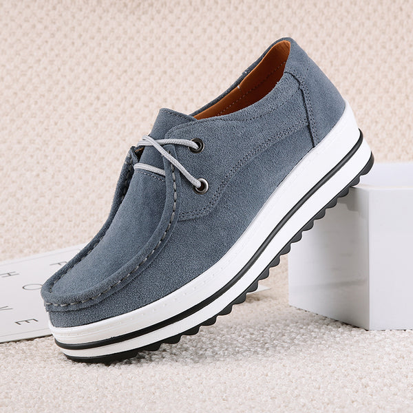 Non Slip Lace-up Suede Platform Loafers