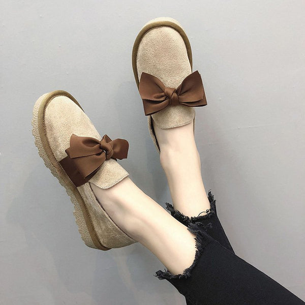 Women Casual Bowknot Loafers Slip On Shoes