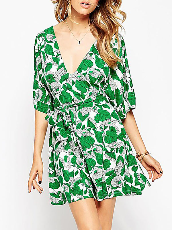V neck Green A-line Women Daily Half Sleeve Cotton Paneled Floral Dress