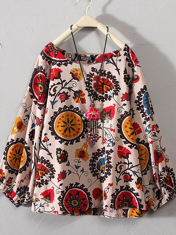Women Vintage Floral Print Long Sleeve Linen T-Shirt