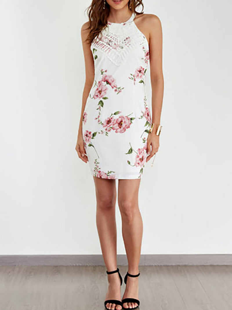 Lace Details Halter Sleeveless Floral Dress