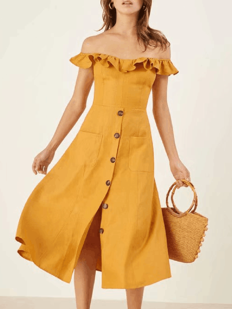 Yellow Casual Swing Cotton Summer Dress