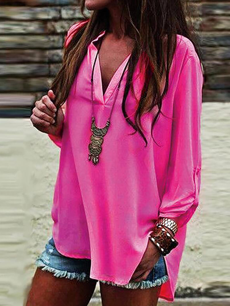 Fuchsia Polyester Solid Casual Blouses & Shirt