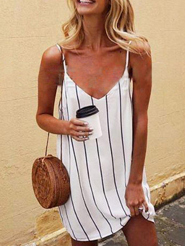 V neck White Shift Women Daily Spaghetti Casual Printed Striped Summer Dress