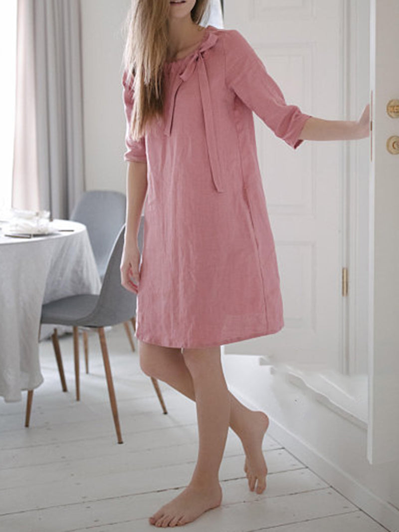 Pink Casual Linen Summer Dress