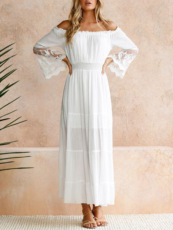 Off Shoulder Paneled Long Sleeve Maxi Dress