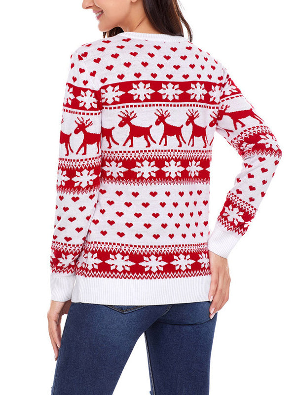 Snowflakes Knitted Casual Christmas Sweater