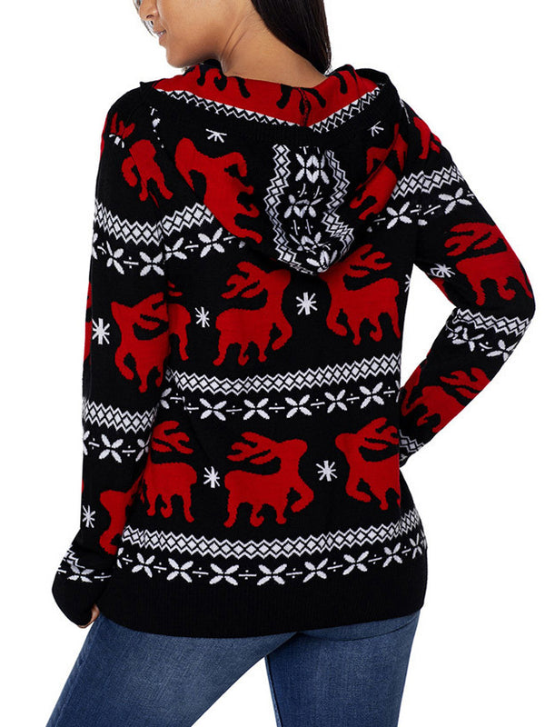 Hooded Christmas Pullover Sweater
