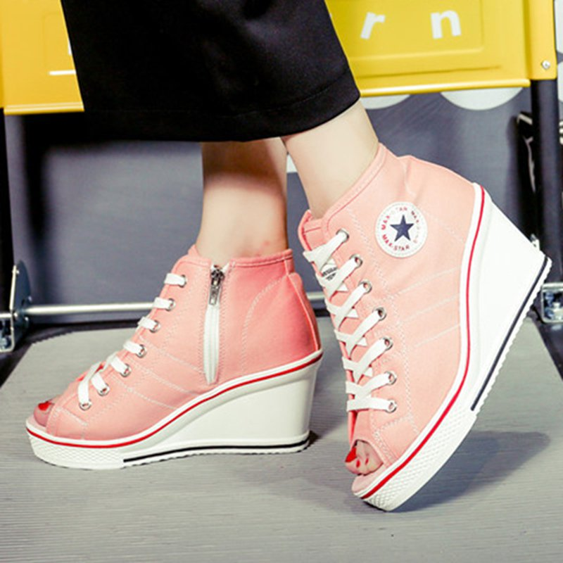 Women Canvas Wedge Sandals Casual Zipper Plus Size Shoes