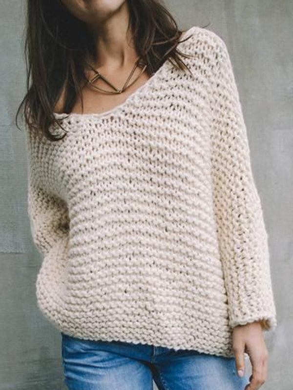 Plain Shift Long Sleeve Sweater