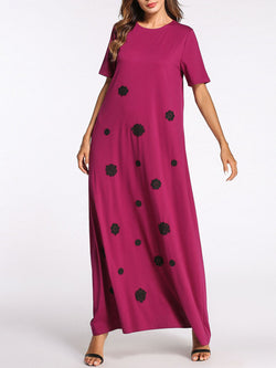 Burgundy Flower Appliqued Casual Crew Neck Shift Maxi Dress