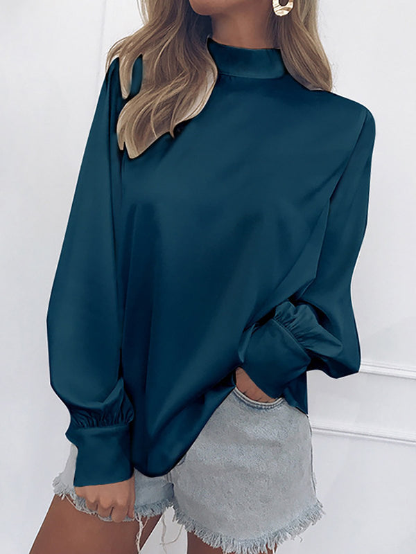 Blue Chiffon Turtle Neck Solid Casual Blouses & Shirt