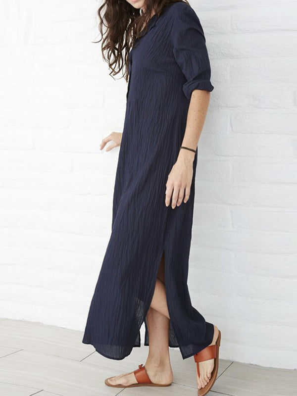 Slit Buttoned V Neck Cotton Linen Plus Size Dress