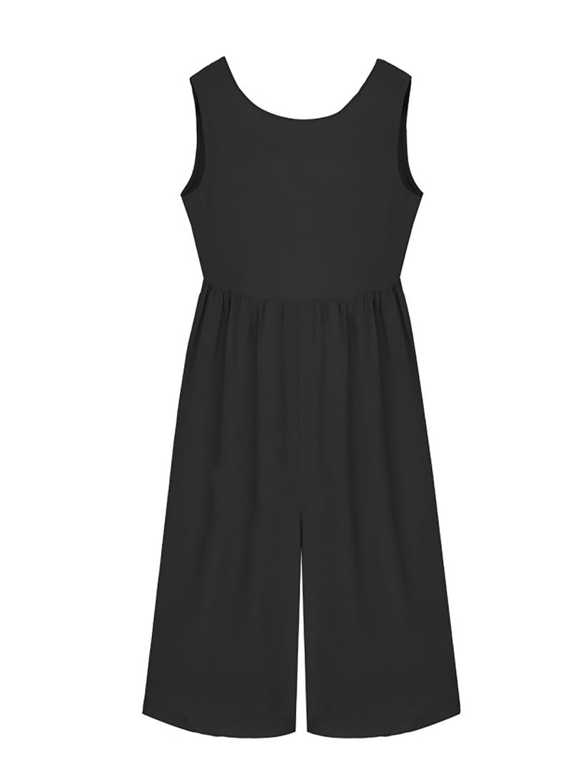 Paneled Casual Crew Neck Jumpsuit