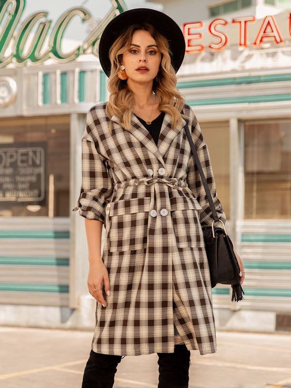CLOTHTRIBE DESIGN Checkered/plaid Long Sleeve Lapel Shift Outerwear
