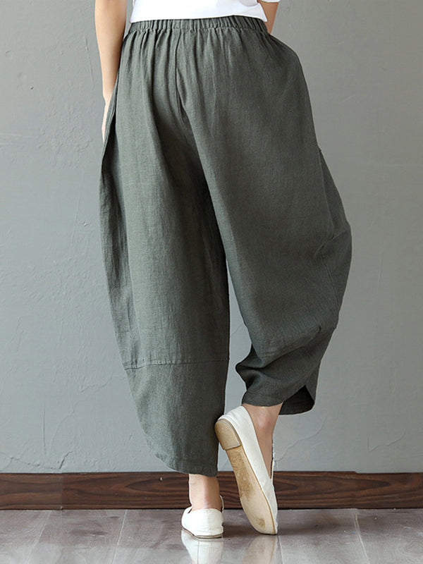 Paneled Pockets Casual Cocoon Pants