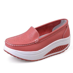 Women Outdoor PU Wedge Platform Loafers