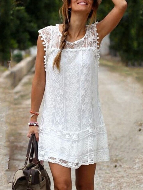 White Sleeveless Crew Neck Boho Lace Holiday Dress