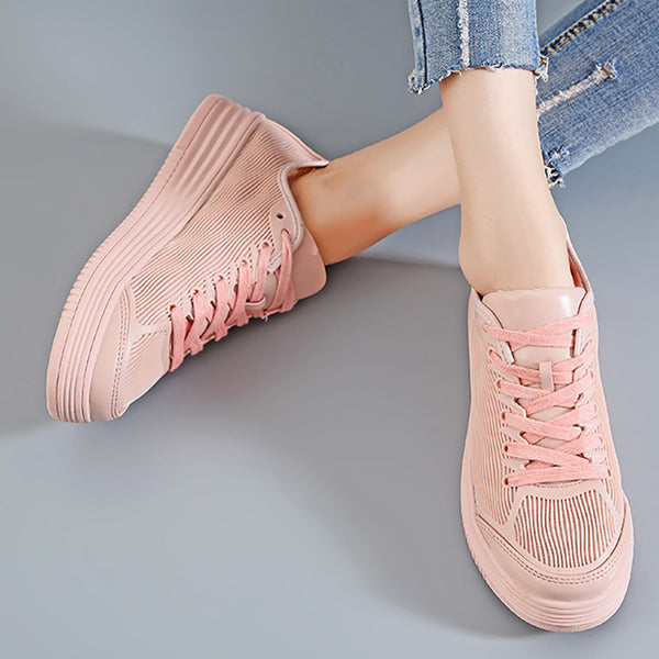 Women Breathable Sneakers Casual Lace Up Plus Size Shoes