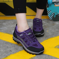 Women Suede Hiking Lace Up Outdoor Sneakers