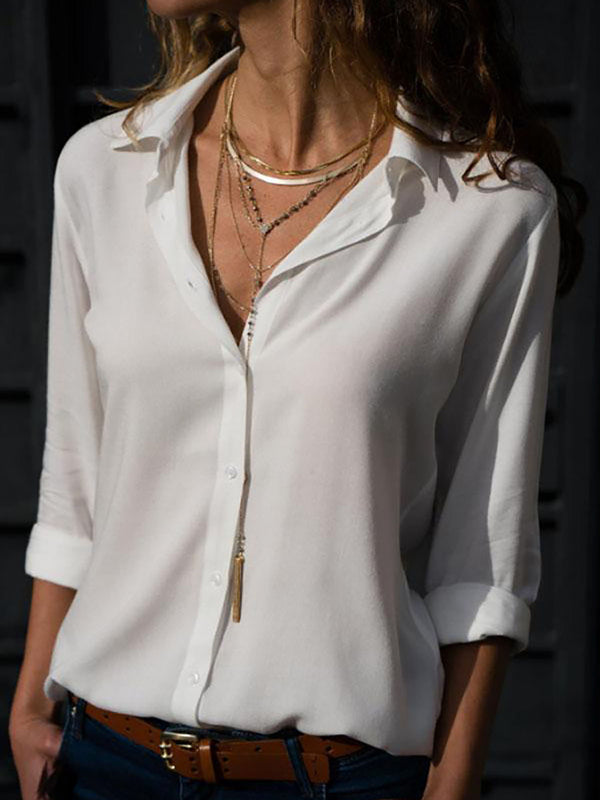 Elegant Cotton-blend Shirt Collar Paneled Shirt