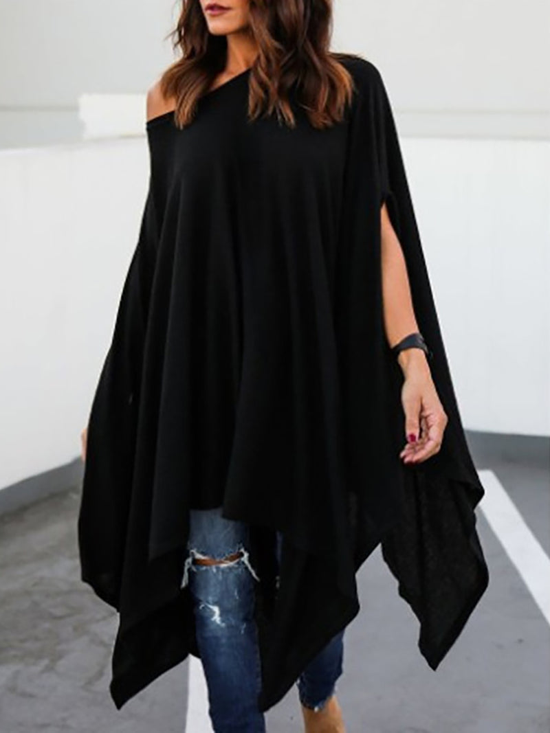 Black Short Sleeve One Shoulder Cotton Solid T-Shirt