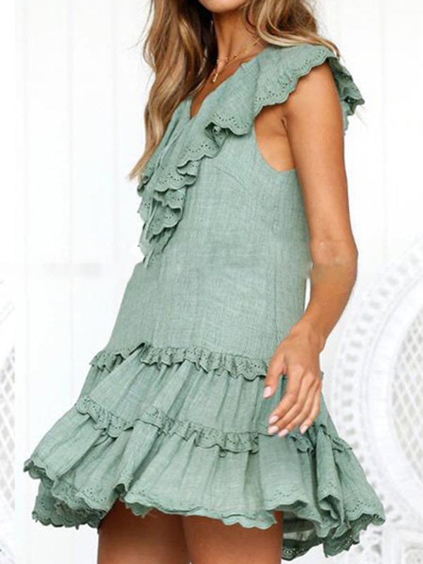 Summer Dress Paneled Pierced V-Neck Sweet Dresses