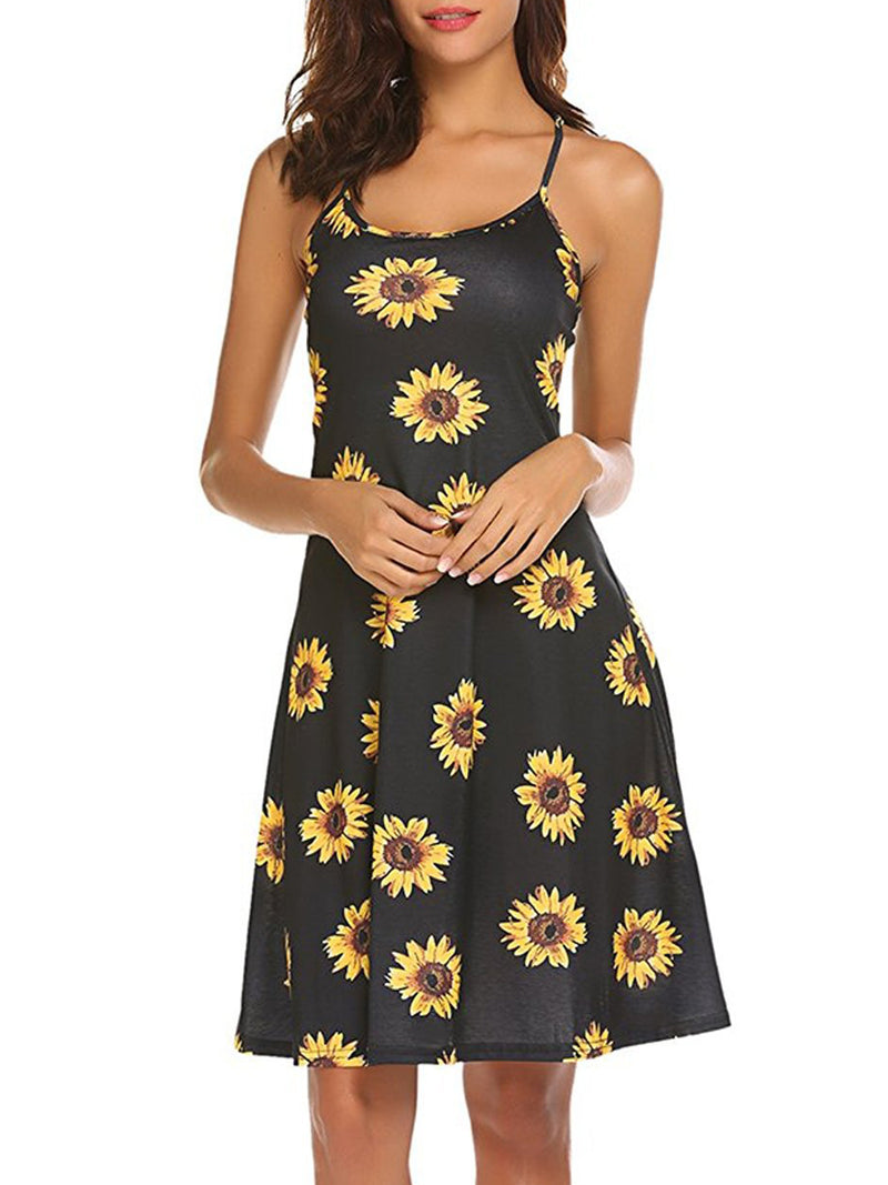 Black Holiday Floral Dress