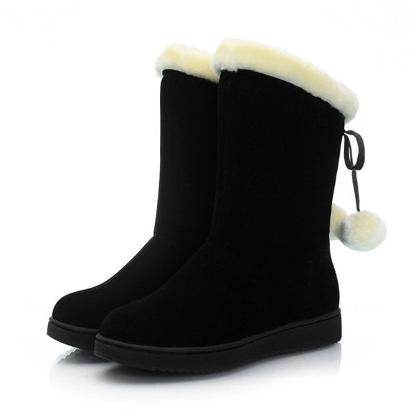 Women Casual Winter Warm Bowknot Fur Christmas Boots