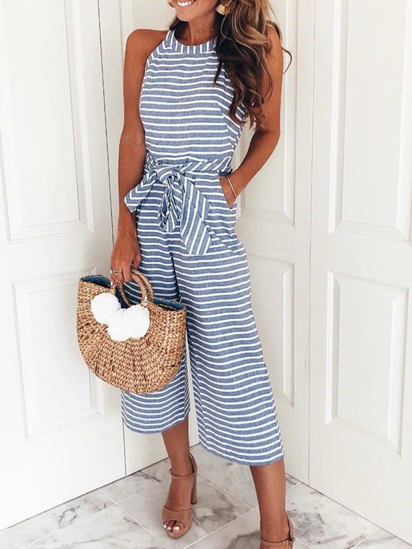 Polyester Striped Sleeveless Jumpsuits