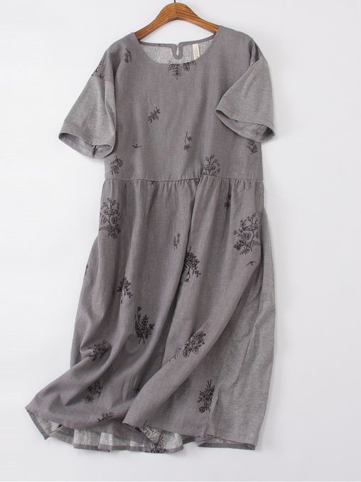 Cotton A-Line Short Sleeve Crew Neck Casual Dresses