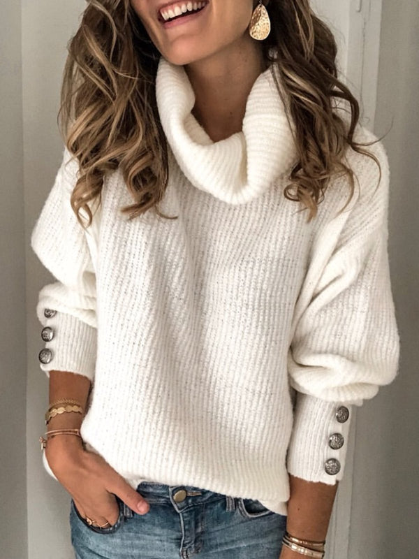 Plus Size Long Sleeve Plain Casual Sweater