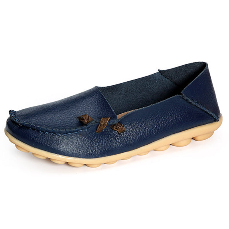 Large Size Split Leather Non Slip Loafers
