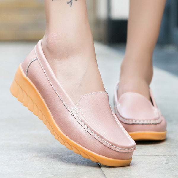 Women PU Wedge Loafers Casual Comfort Slip On Shoes