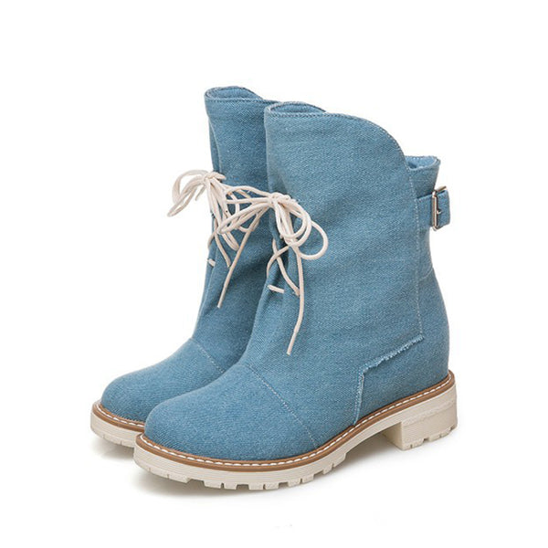 Light Blue Winter Lace-up Daily Cloth Chunky Heel Boots