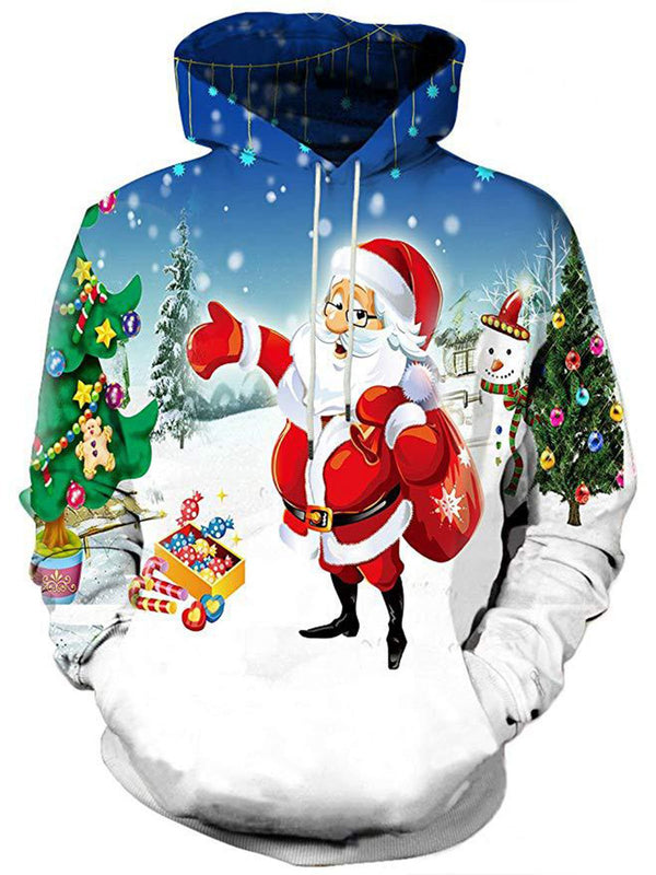 Christmas Plus Size 3D Printed Hooded Sweatershirt