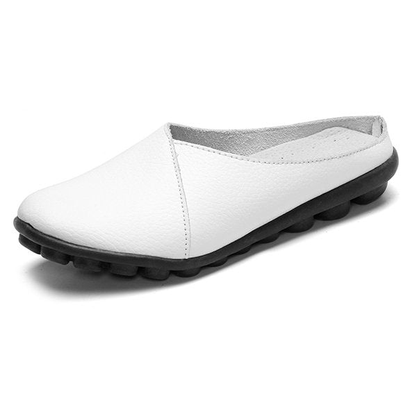 Black Slip-On Women's Leather Flats