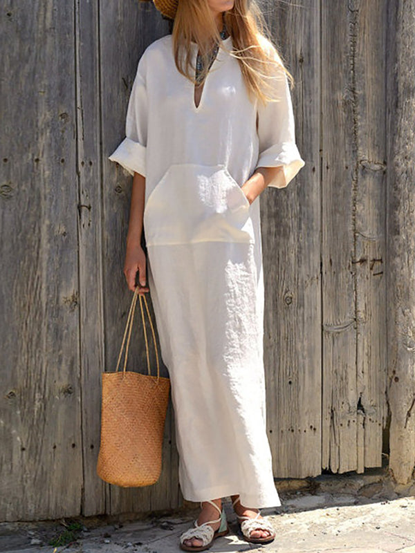 Front Pocket Solid V Neck Slit Side Maxi Dress