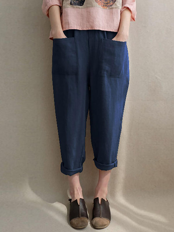 Casual Solid Pockets Cotton Pant