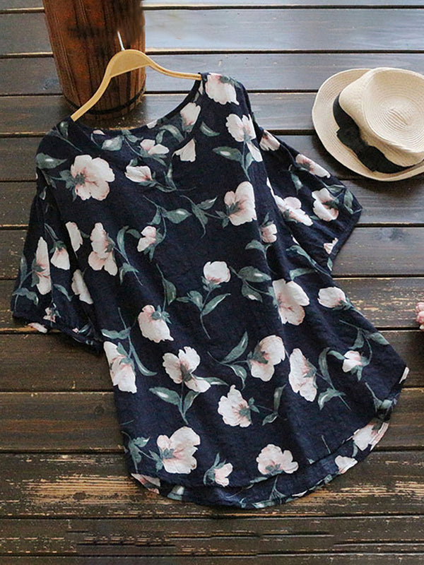 Casual V Neck Floral T-Shirt
