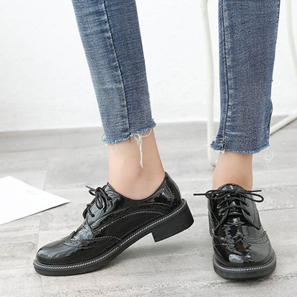 Faux Leather Lace-Up Comfort Oxfords